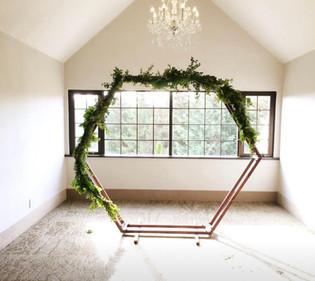 Hexagon Arch with Fresh Greens Runner