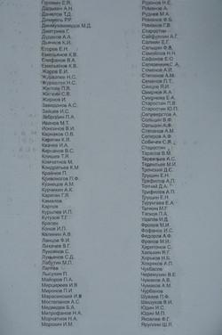 Фамилии погибших свияжцев на обелиске
