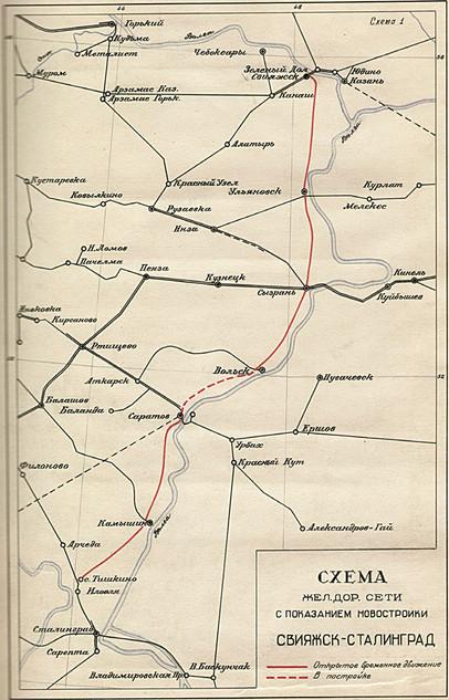Схема маршрута железной дороги Свияжск - Сталинград. 1942