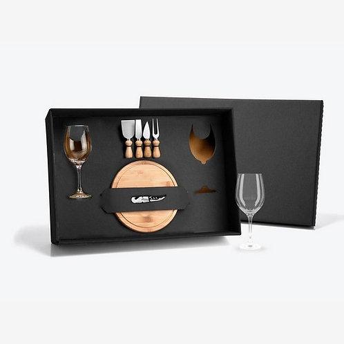 Kit Queijo e Vinho com Abridor Saca Rolhas