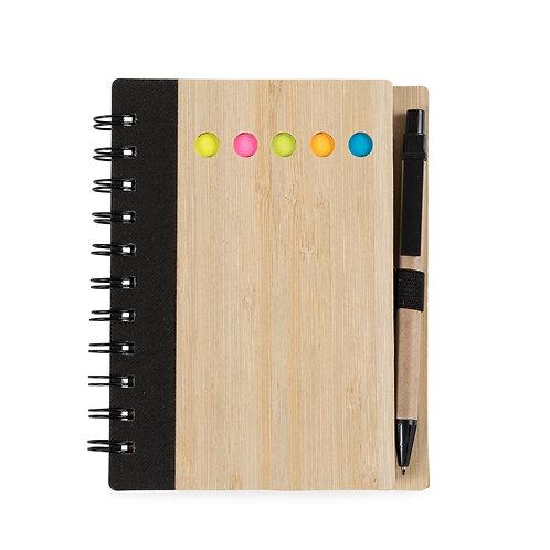 Caderno de Anotações Bambu com Caneta