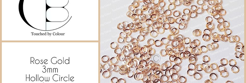 Rose Gold 3mm Hollow Circle  Stud - 50 pieces