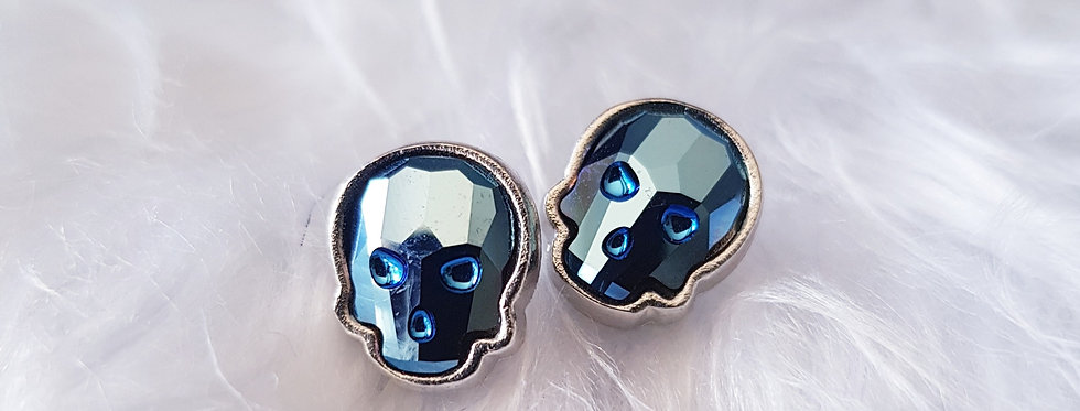 Swarovski Skull Stud Earrings - Metallic Blue