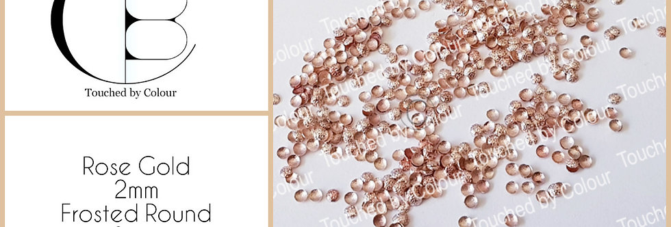 Rose Gold 2mm Frosted Round Stud - 50 pieces