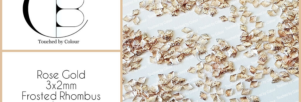 Rose Gold 3x2mm Frosted Rhombus Stud - 50 pieces