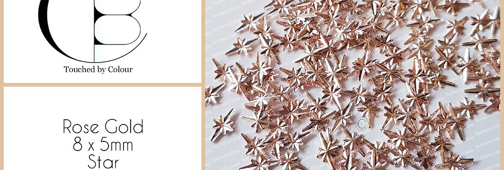 Rose Gold 8x5mm Star Stud - 20 pieces