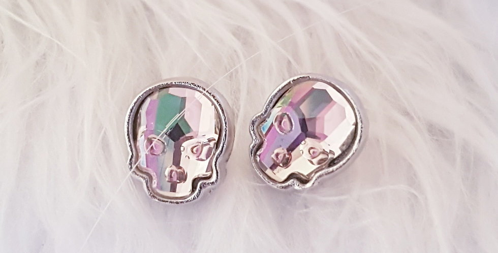 Swarovski Skull Stud Earrings - Fuchsia Haze