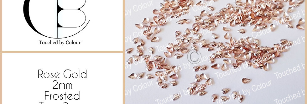 Rose Gold 2mm Frosted Tear Drop Stud - 50 pieces