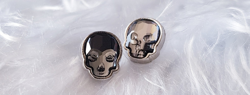 Swarovski Skull Stud Earrings - Silver Night