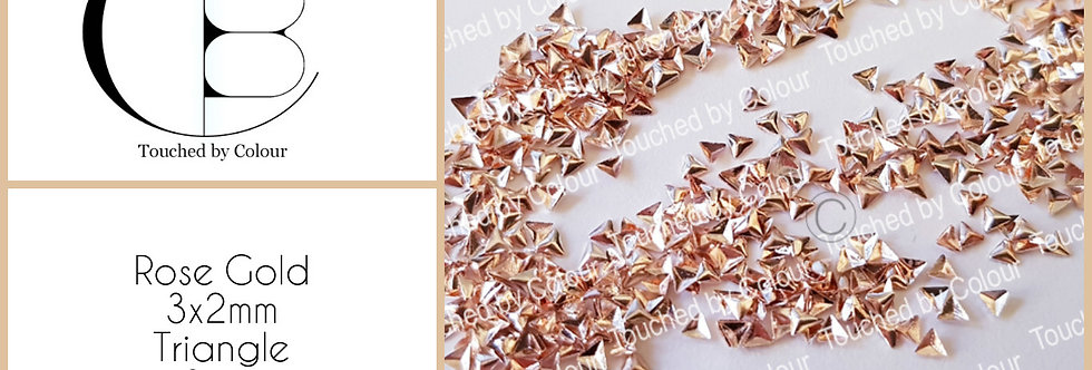 Rose Gold 3x2mm Triangle Stud - 50 pieces