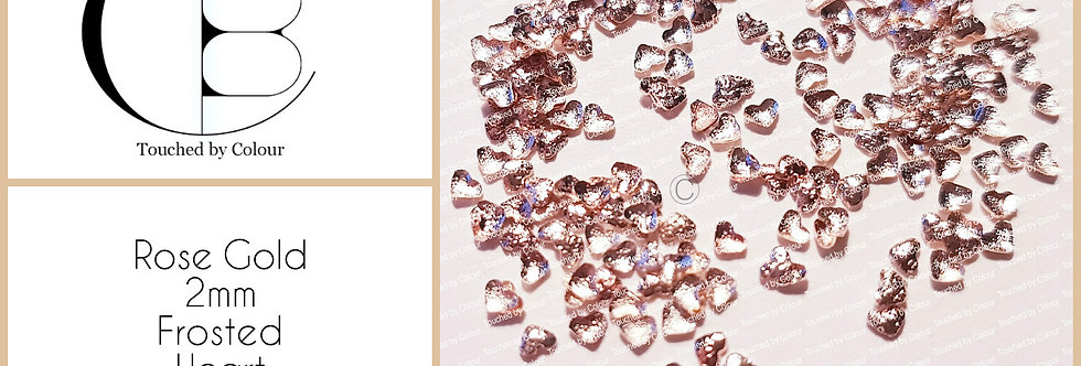Rose Gold 2mm Frosted Heart Stud - 50 pieces