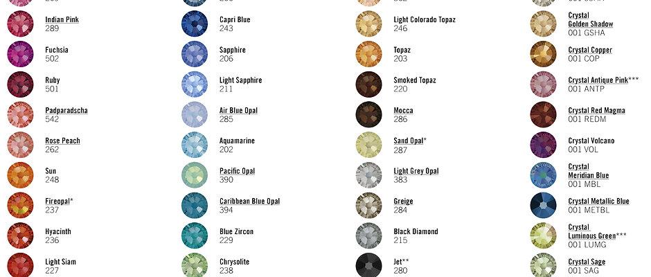 Swarovski Colour Chart