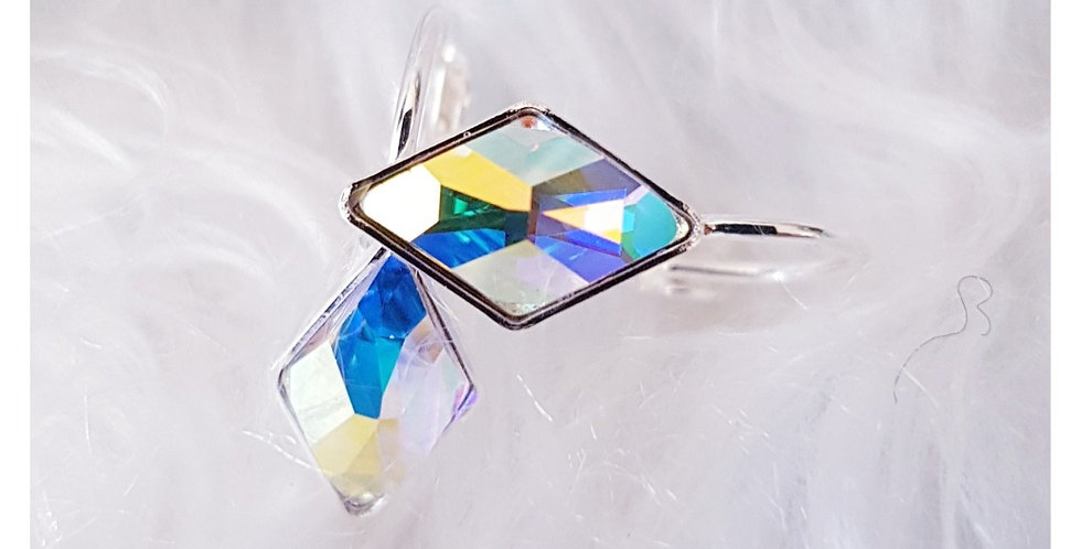 Crystal AB Rhombus Lever Back Earrings