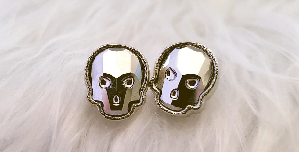Swarovski Skull Stud Earrings - Light Chrome