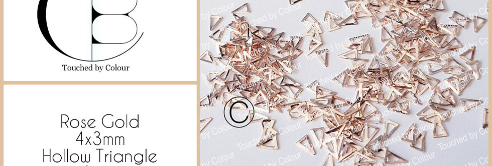 Rose Gold 4x3mm Hollow Triangle Stud - 50 pieces