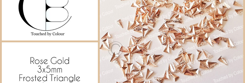 Rose Gold 3x5mm Frosted Triangle Stud - 50 pieces