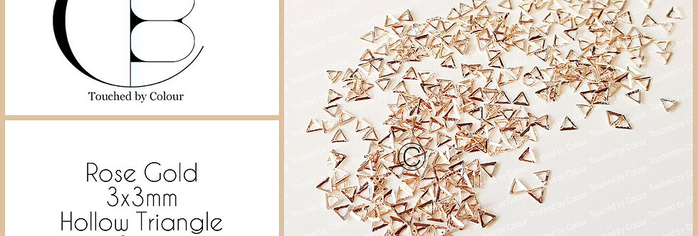 Rose Gold 3x3mm Hollow Triangle Stud - 50 pieces
