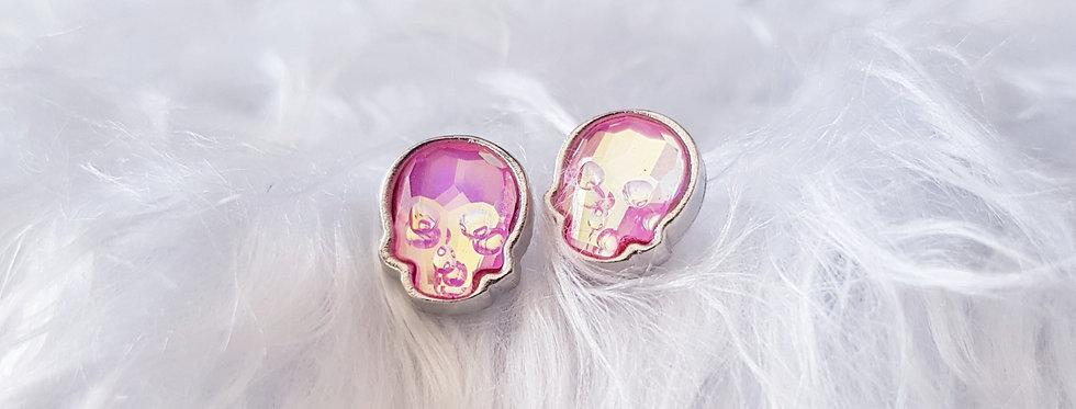 Swarovski Skull Stud Earrings - Ultra Pink AB