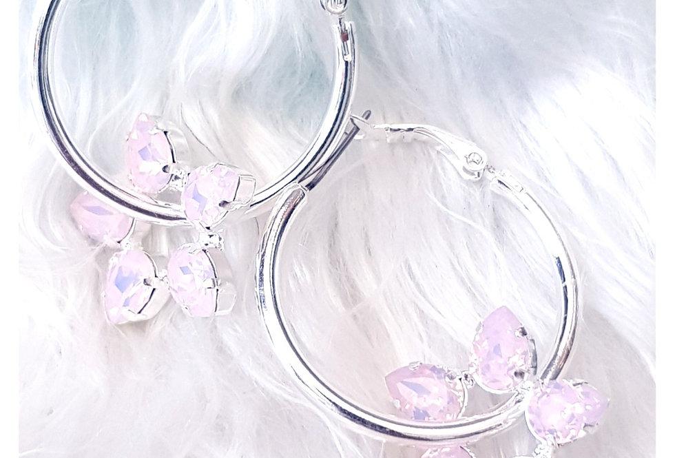 Rose Water Opal Dangle Hoop Earrings