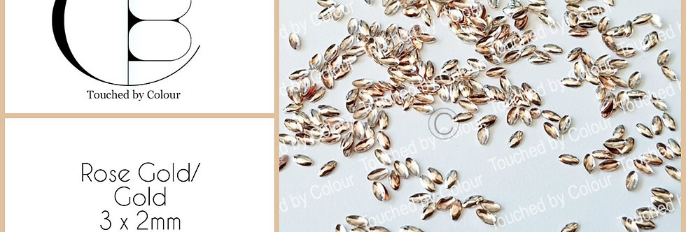 Rose Gold 3x2mm Oval Stud - 50 pieces