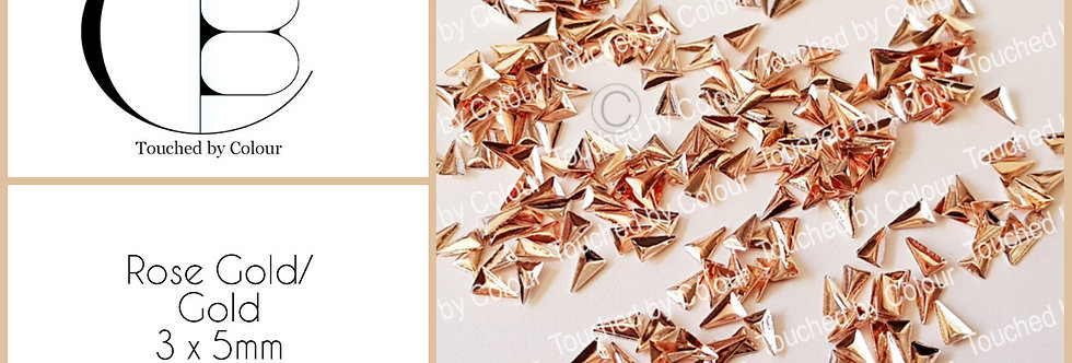 Rose Gold/Gold 3x5mm Triangle Stud - 50 pieces