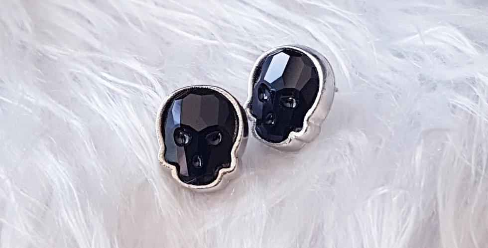 Swarovski Skull Stud Earrings - Jet