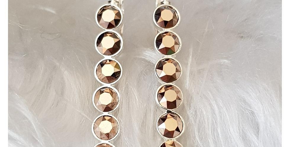 Rose Gold Bar Lever Back Earrings