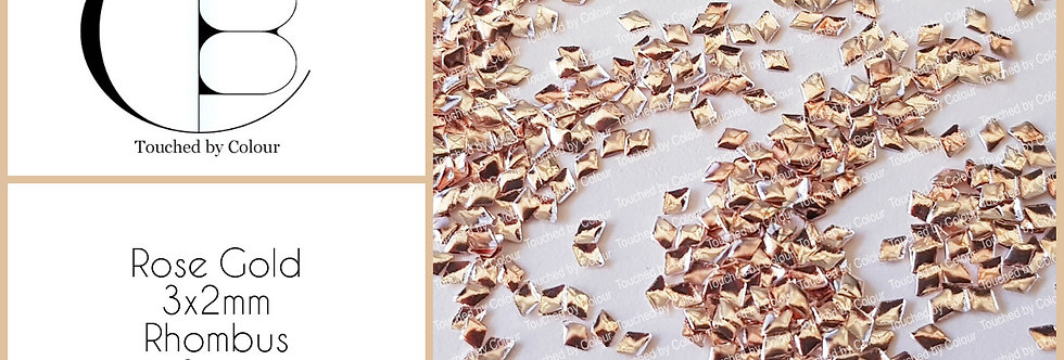 Rose Gold 3x2mm Rhombus Stud - 50 pieces