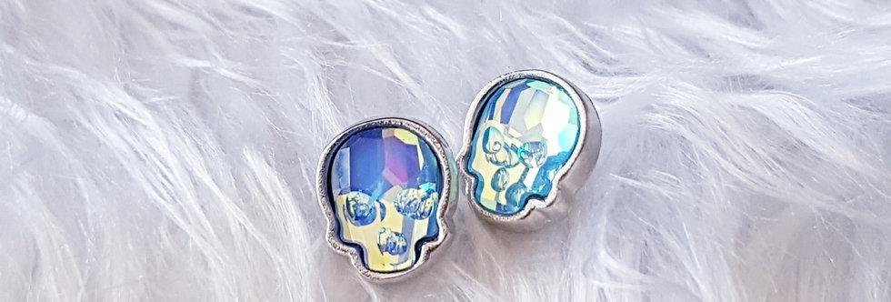 Swarovski Skull Stud Earrings - Ultra Turquoise AB