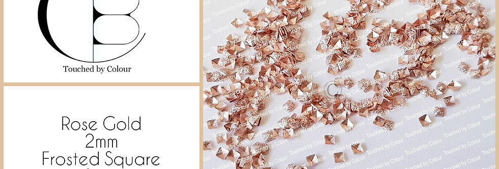 Rose Gold 2mm Frosted Square Stud - 50 pieces
