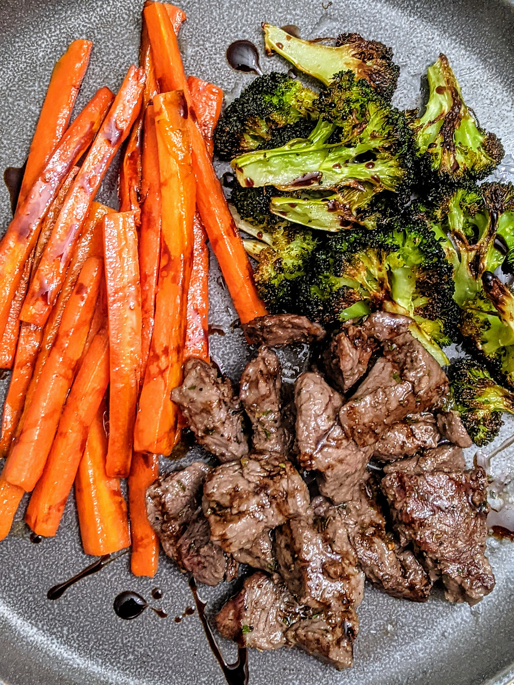 The Sunday Cookbook - One Pan Balsamic Steak and Veggies - Joseph Centineo - food allergy recipe - trubeef