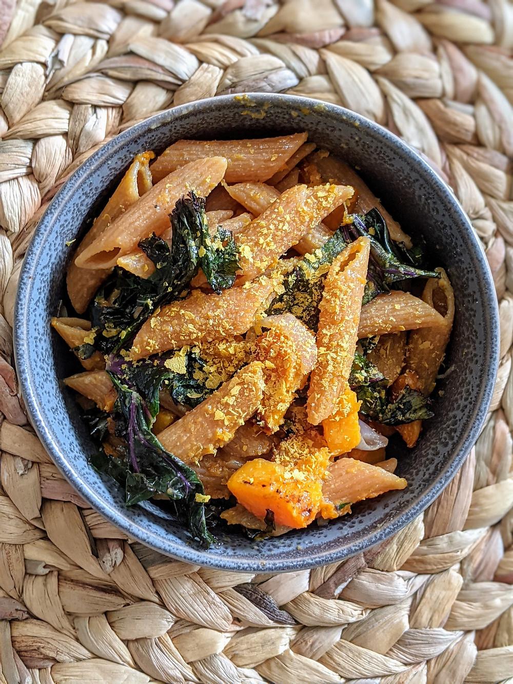 Barilla's red Lentil Pasta with Butternut Squash and Veggies - The Sunday Cookbook - Food Allergy Recipes - Joseph Centineo - Amanda MacGregor