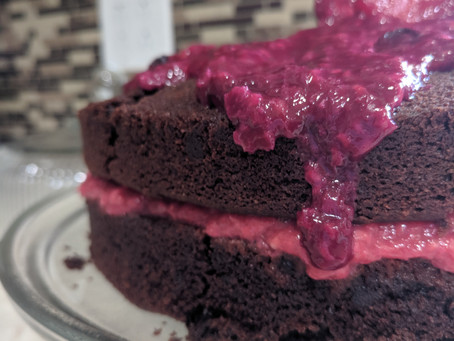 Vegan Chocolate Cake with Raspberry Filling