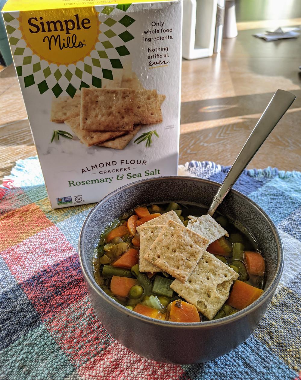 Lentil Vegetable Soup with Simple Mills' Almond Flour Crackers - Amanda MacGregor - food allergy recipes