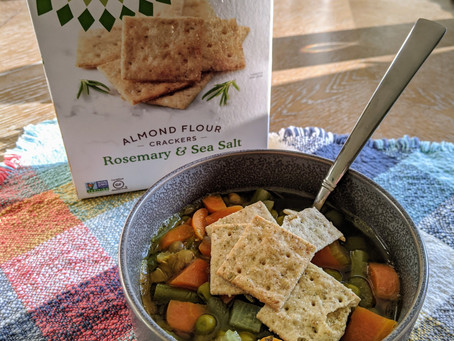 Lentil Vegetable Soup with Simple Mills' Almond Flour Crackers