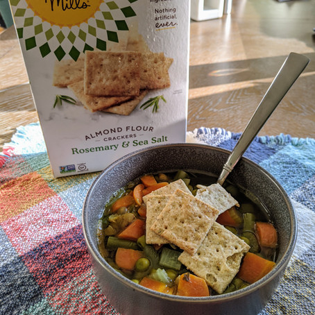 Lentil Vegetable Soup with Simple Mills' Almond Flour Crackers