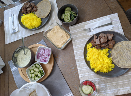 The Sunday Cookbook: Halal-style Lamb over Turmeric Rice with White Sauce and Gluten-Free Pita Bread