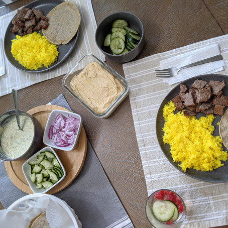The Sunday Cookbook: Shawarma-style Lamb over Rice with White Sauce and Gluten-Free Pita Bread