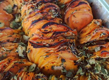 Shingled Rosemary Sweet Potatoes