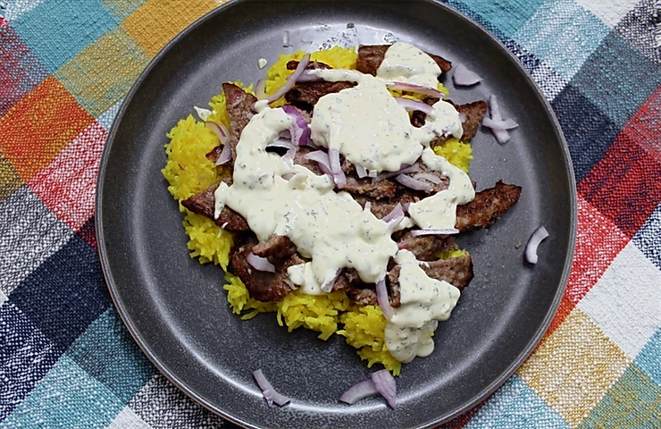 Shawarma-style Lamb over Rice - The Sunday Cookbook - joseph centineo - food allergy recipes