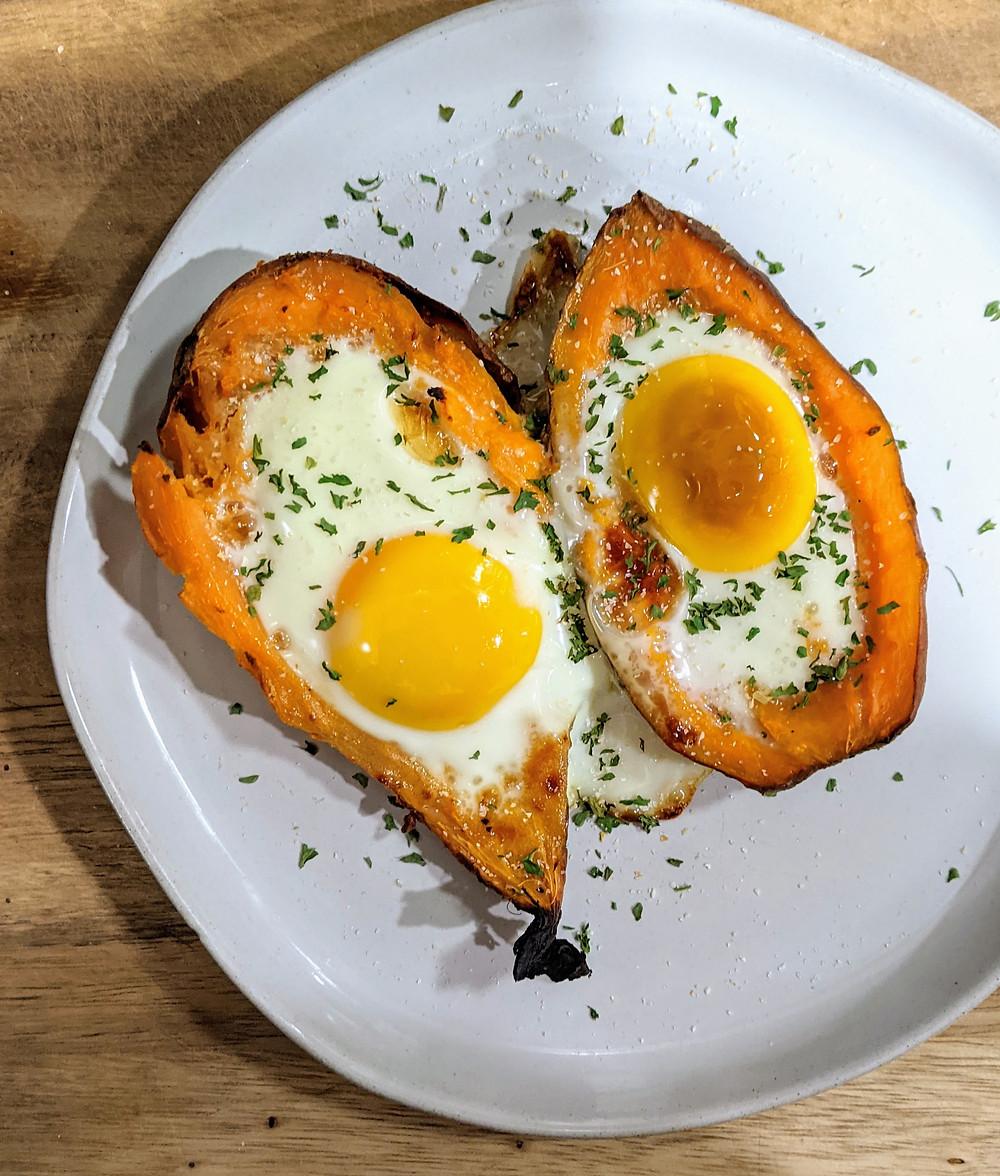 Baked Egg Stuffed Sweet Potatoes - Whole30, Paleo, Nightshade-Free - Amanda MacGregor