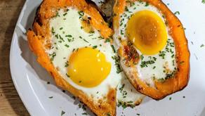 Baked Egg Stuffed Sweet Potatoes - Whole30, Paleo, Nightshade-Free