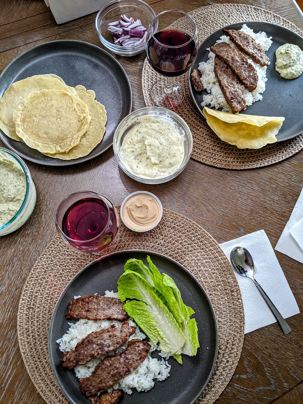 Shawarma-style Lamb over Rice with White Sauce and Gluten-Free Pita Bread - The Sunday Cookbook - Joseph Centineo