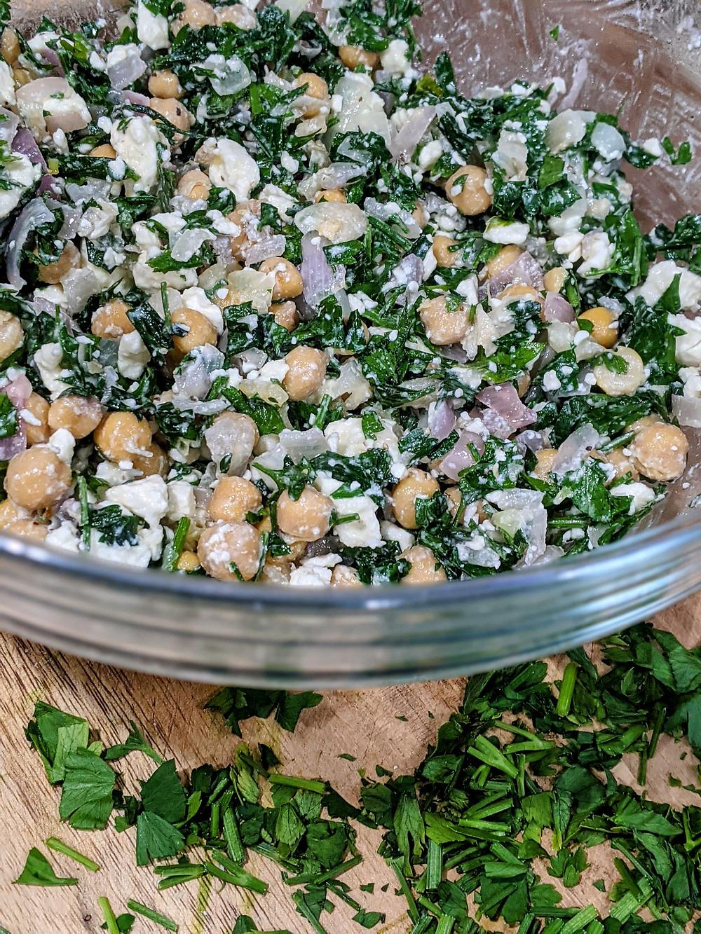 Our Mediterranean Parsley and Feta Chickpea Salad - amanda macgregor - joseph centineo - food allergy recipes