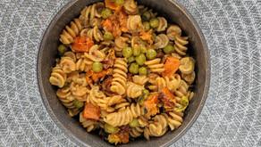 Vegan Creamy Butternut Squash Pasta with Peas and Sage
