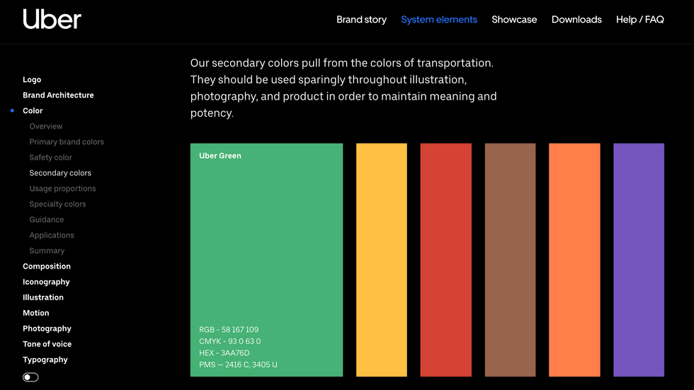 Uber brand guide inspiration-colors
