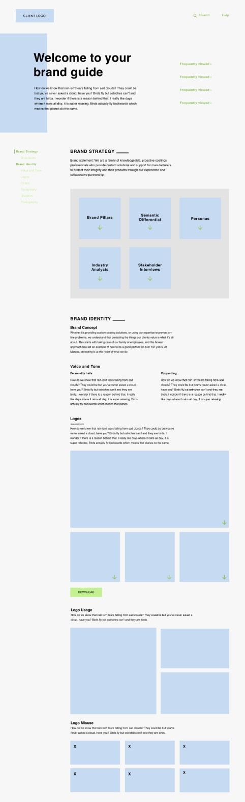 Online brand guide homepage
