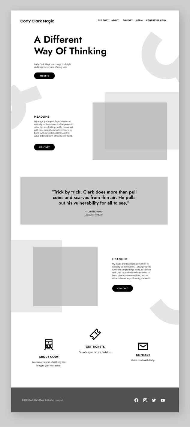 Cody Clark Magic homepage wireframe