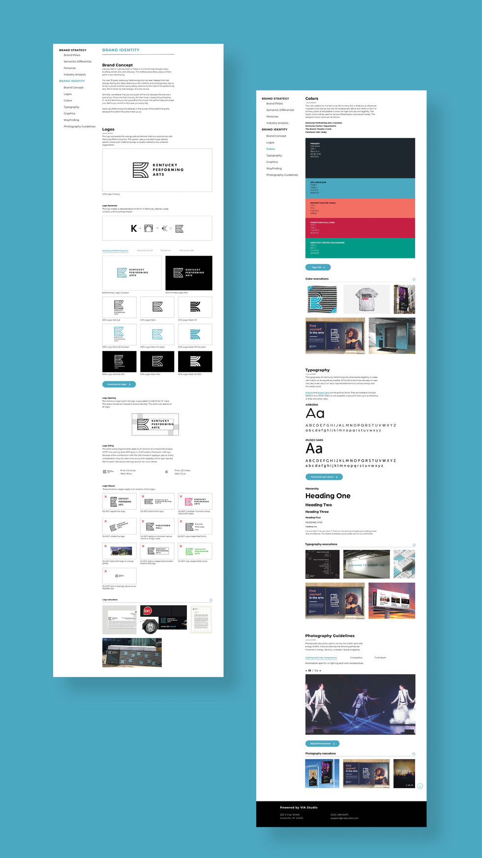 Online brand guide pages