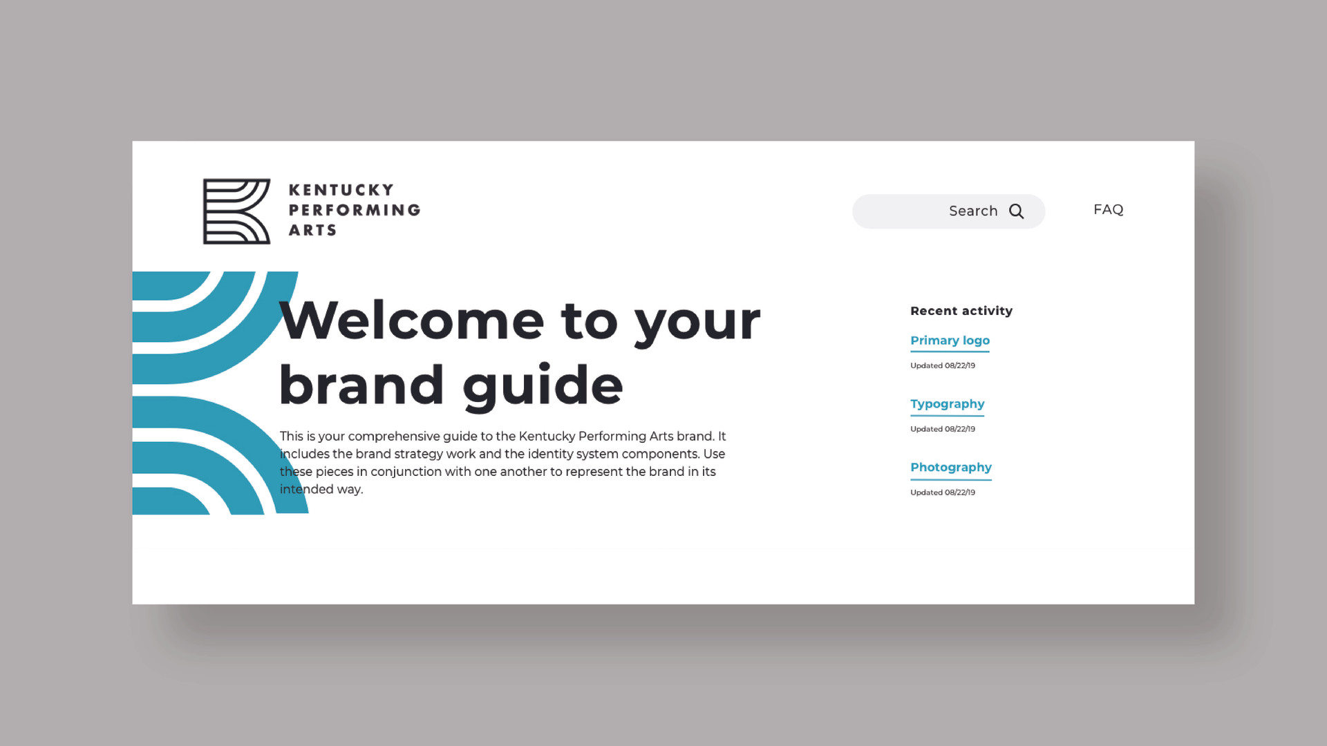 Online brand guide landing page